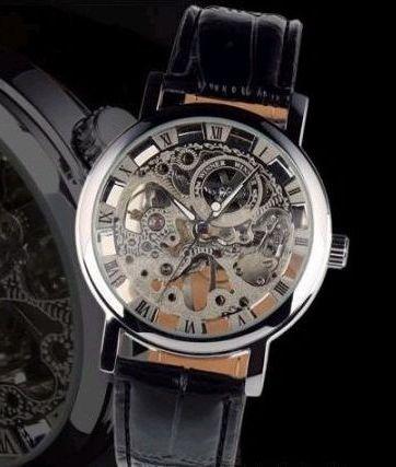 966124dc7e7 Pánske mechanické hodinky - Black Silver Skeleton
