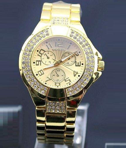 Vykladané dámske hodinky Geneva - zlaté 831dde92ff7