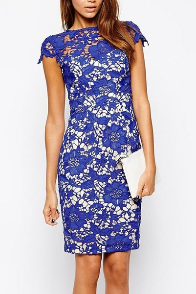ce977585ee7b Modré čipkované šaty