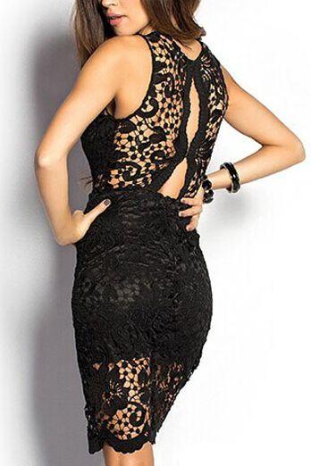 Čierne čipkované šaty Stripe D 5087cc4355c