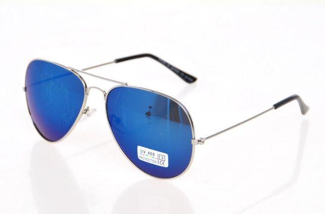Slnečné okuliare AVIATOR - pilotky strieborný kovový rám BLUE empty 345173083d6
