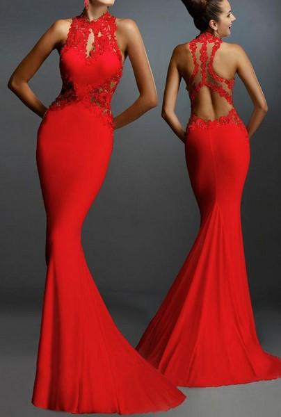Dámske šaty s čipkou - červené d8d9cfb651