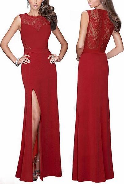 acc57714cadd Dlhé červené šaty s čipkou
