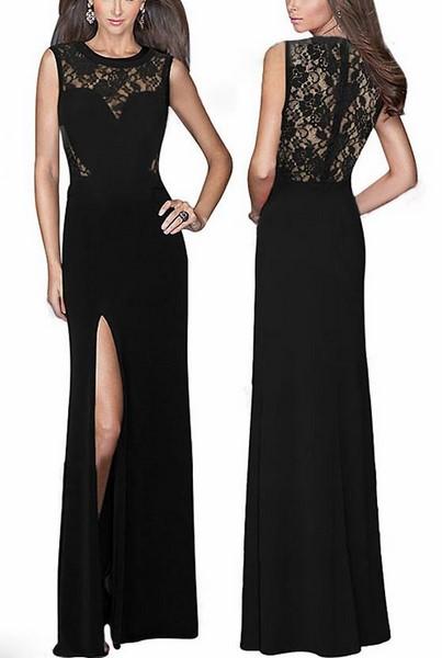 Dlhé čierne šaty s čipkou f2f2e1892b1