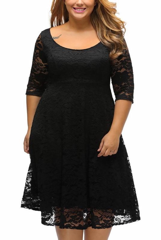 adf2f32c46bf Čipkované plus size šaty - čierne