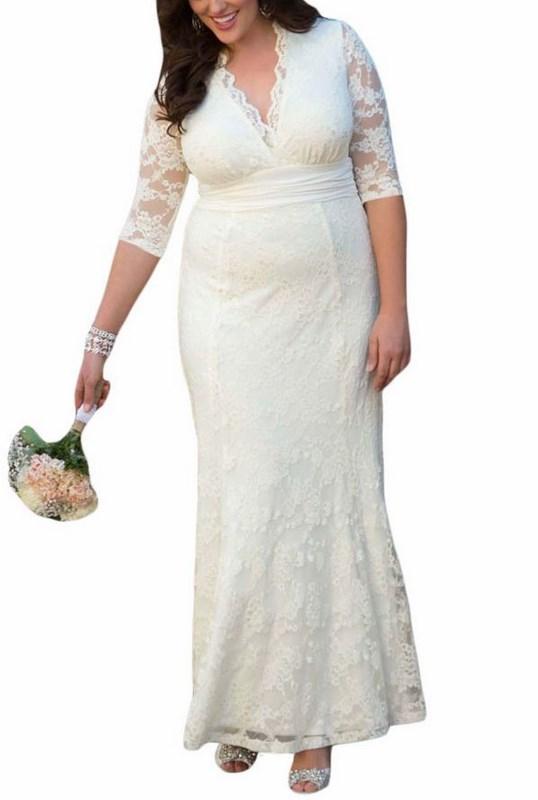 576e1d1174d4 Biele čipkované plus size šaty