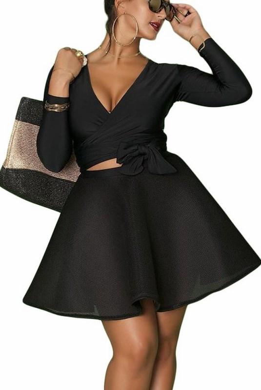 8f89a82473bd Čierny dámsky plus size set top + sukňa