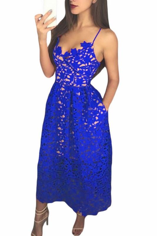 Modré čipkované šaty Madelyn f8430375848