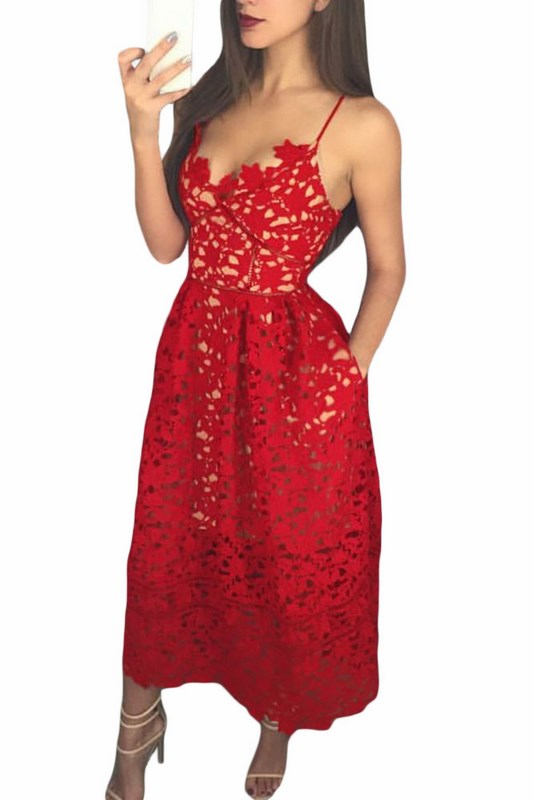 f82ebccfcdf6 Červené čipkované šaty Madelyn