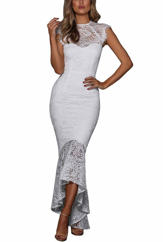 18d6ec69bb5e Dlhé čipkované dámske šaty - biele