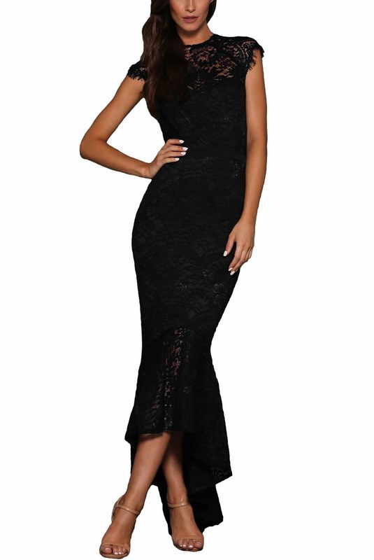 0bcc2e6ff8d5 Dlhé čipkované dámske šaty - čierne