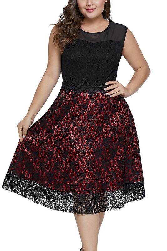 e7d2e58ebbc6 Červeno-čierne štýlové plus size šaty