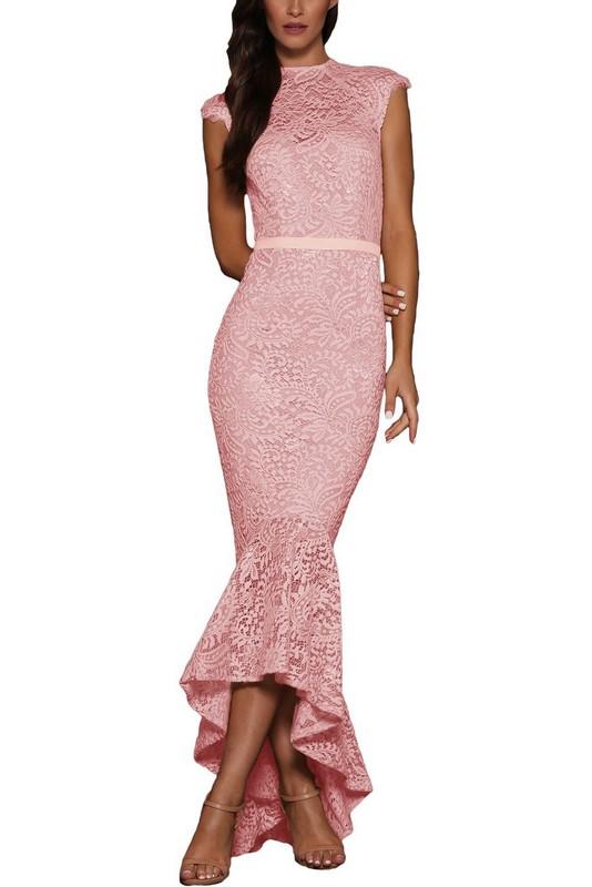 c33f6dd93f69 Dlhé čipkované dámske šaty - ružové