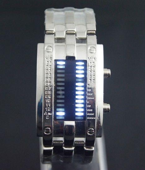 Binárne LED hodinky - Army Silver 719d96e03e9