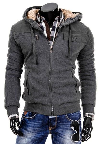 Zateplená pánska mikina   bunda - sivá 2807410cd96