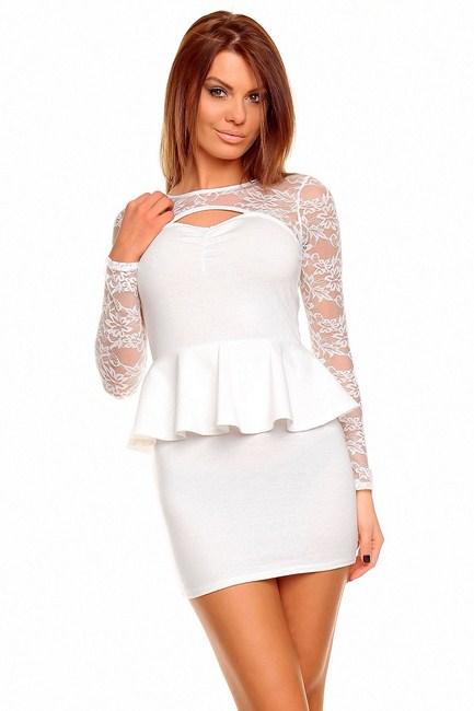1860ce87e300 Biele peplum šaty Young