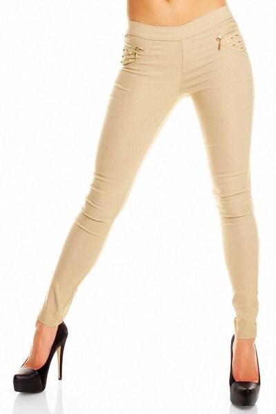 c496bf8a6dd5 Dámske elastické nohavice Emilie - béžové