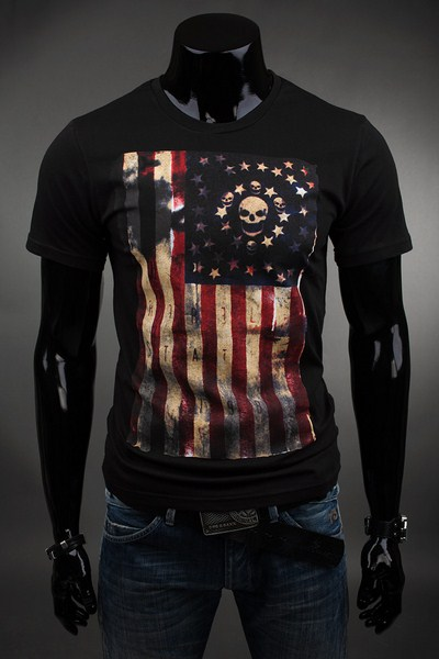 c6bcc76390e0 Pánske čierne tričko USA