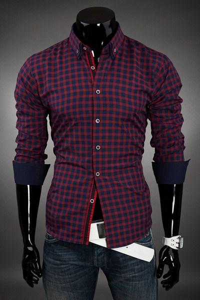 16db050d335b Pánska kockovaná Slim Fit košela - bordová