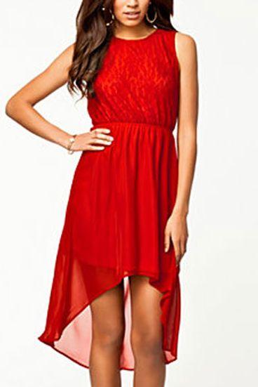 Červené šaty s čipkou f9407edcd1