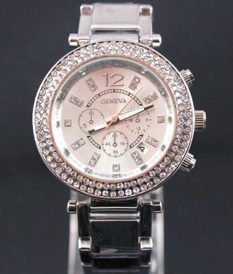 Vykladané dámske hodinky Geneva Round - Strieborné 39c8878c83e
