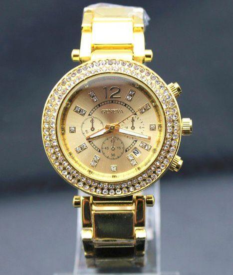 Vykladané dámske hodinky Geneva Round - Zlaté c464eb4c16
