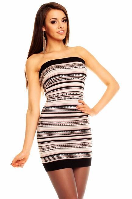 09f861f68427 Dámske šaty pulover Lea - béžovo čierny