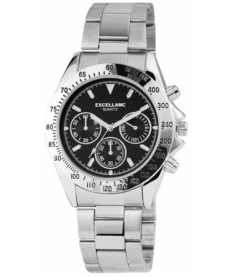 Pánske kovové hodinky Excellanc - Silver Black f761070226