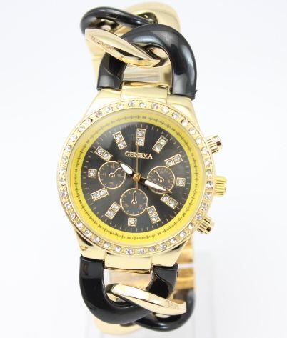 99e30f60520 Dámske hodinky Geneva - náramok reťaz Gold Black