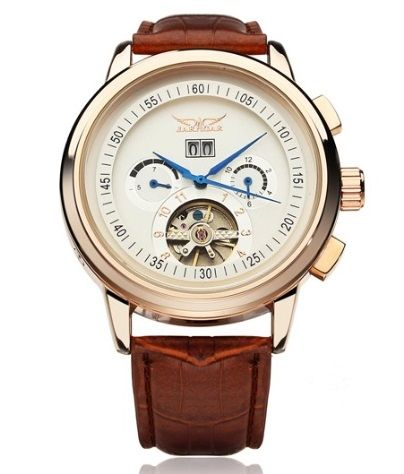 Pánske mechanické hodinky - hnedé dd4ccb98c10