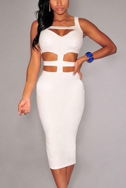f337b90f3272 Bodycon dámske šaty - biele