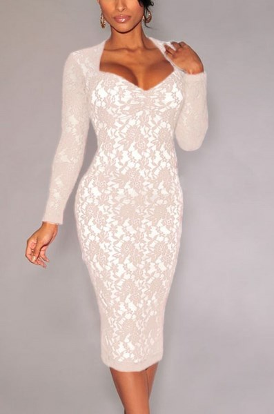 6a0e2ff4ba02 Dámske čipkované šaty - biele