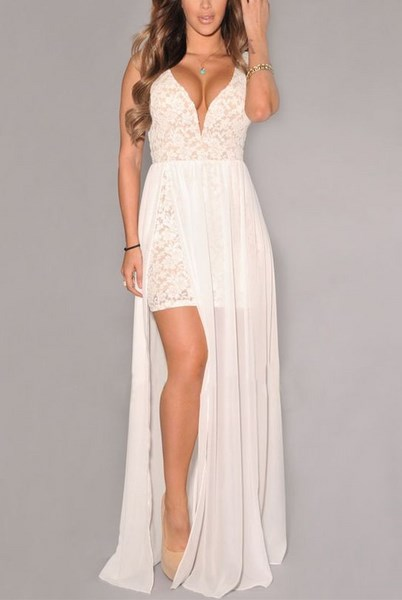 b9b7874d7c6f Dlhé biele šaty s čipkou