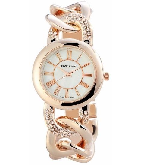 Dámske hodinky Excellanc Chain - Rose zlaté vykladané 8b3f47922b