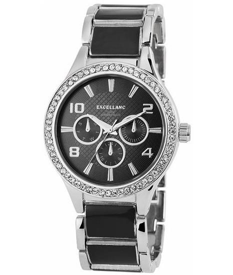 Dámske kovové hodinky Excellanc - strieborné čierne bd2cd0e3380