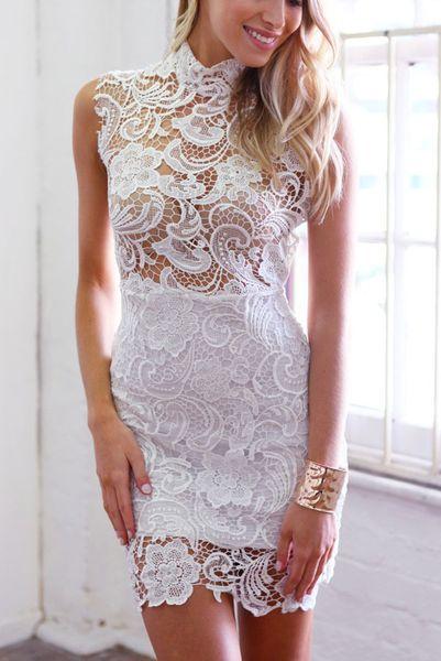 d4fe323732ae Dámske čipkované šaty - biele
