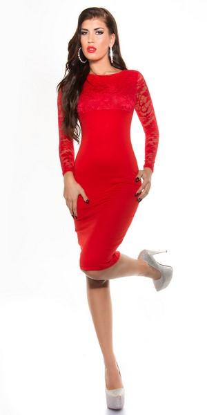 Červené šaty s čipkou 0b7b6a05965