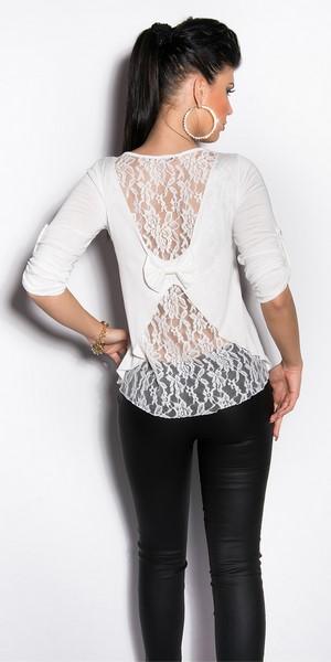 Dámske tričko s čipkou - biele 50671943dda