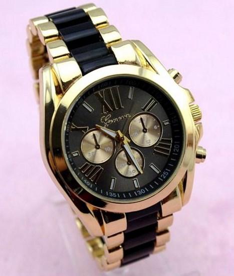 Dámske hodinky Geneva Stripe R - zlaté Black 51cb06d820a