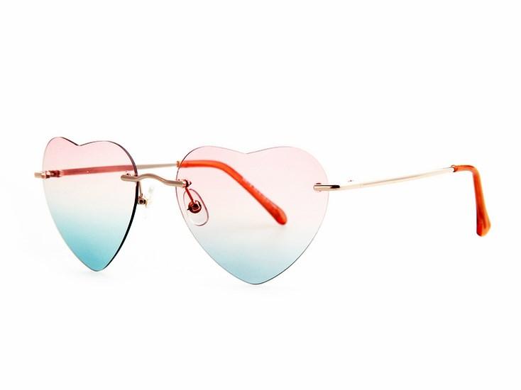Dámske slnečné okuliare Glam Heart - ružové modré c8f80524acc