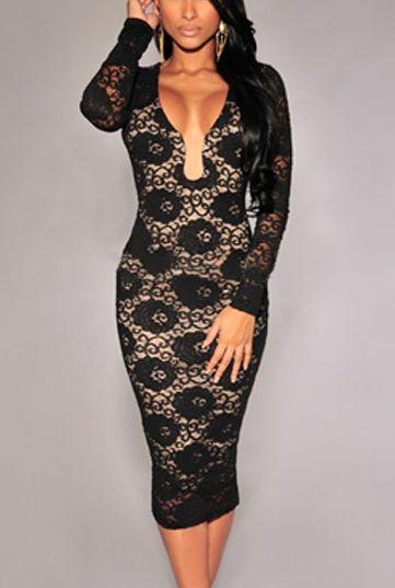 Čierne čipkované šaty D e28ee9ce940