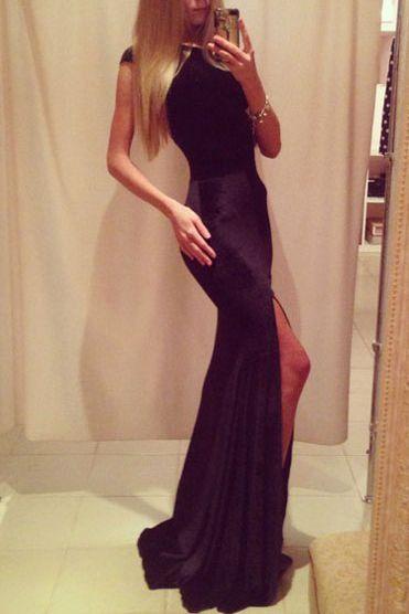 9fb6557277ea Dámske dlhé šaty - čierne D