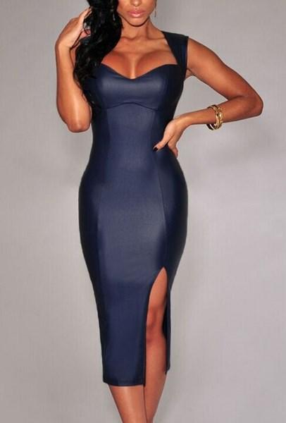 4ab23584d9 Dámske lesklé šaty - modré