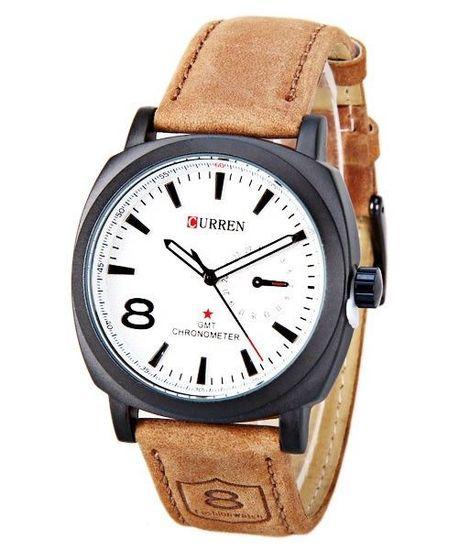Pánske hodinky Curren hnedé White 015bee87f7