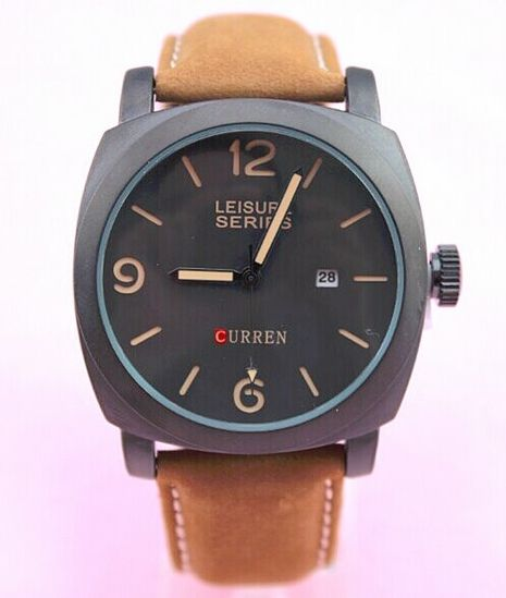 Pánske vodotesné hodinky Curren čierne hnedý remienok 73e065d00f