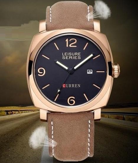 Pánske vodotesné hodinky Curren zlaté hnedý remienok f72544febd