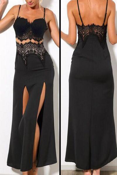 Dlhé čierne čipkované šaty D 0e8c6cc5e5d