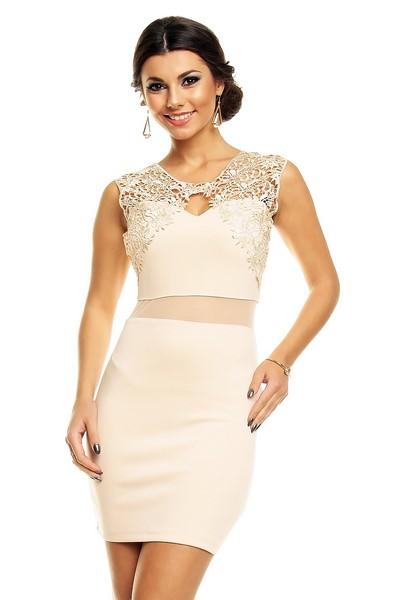 44ef543d053a Dámske béžové šaty s čipkou
