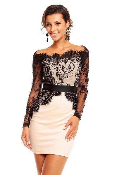 f468829122fb Dámske šaty béžové s čiernou čipkou