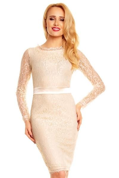 ad3b406b3c97 Dámske šaty s čipkou - krémové